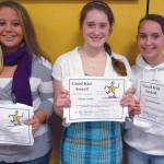 LAKE REGION HIGH SCHOOL Good Kid Award winners include: (left to right) Kacie Tripp, Alyssa Curtis and Danielle Keller.
