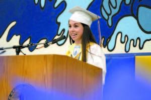 VALEDICTORIAN Kasey Huntress addresses members of the Lake Region Class of 2013 at graduation last Sunday. (Rivet Photo)
