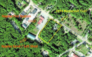 THIS GOOGLE EARTH PHOTO shows where the property is located in relation to the Naples Town Sand Shed. (Photo courtesy of the Town of Naples) NW dd35 Naples buys home with salty well WHITE HOUSE THE TOWN OF NAPLES has made a legal agreement with the owners of this estate, property located at 1074 Roosevelt Trail. If approved at Special Town Meeting, the town will purchase the parcel for $188,000 using money from the Undesignated Fund Balance. This agreement is in lieu of paying for a new well and guaranteeing the water quality for a decade. (De Busk Photo) NW dd35 Naples buys land with salty well PUBLIC SAND SHED STUDIES WERE NEVER CONCLUSIVE as to whether or not the Naples Sand Shed was responsible for salt found in a nearby private drinking well. (De Busk Photo)