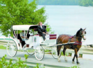 RIDING IN STYLE — Tiffany Payton, of Carousel Horse Farm, will be bringing her single-horse carriage to Downtown Bridgton for ride tours as a trial run during Fryeburg Fair week, Sept. 28 to Oct. 5.