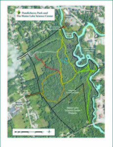 THE TRAIL SYSTEM within Bridgton's Pondicherry Park will include a new branch off the Willett Brook Trail (bottom right) that will link Stevens Brook Elementary School to the planned Maine Lake Science Center off Willett Road.