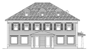 A PROFESSIONAL LOOK — The roofline and entrance may change, but this architect's rendering shows what Main Eco Homes developer Justin McIver has planned for the former Sporthaus building at 103 Main Street in downtown Bridgton.