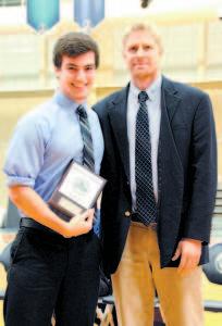 Matt Boucher and varsity football coach, David Turner.