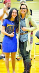 HEAD OF SCHOOL AWARD winner is Indoor Track & Field performer Anna Lastra, pictured here with Fryeburg Academy's Head of School, Erin Mayo.
