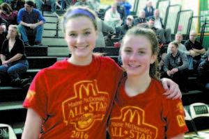 McDonald hoop all-stars Lexi L'Heureux-Carland (left) and Julia Quinn of Fryeburg Academy.